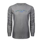 Grey Long Sleeve T Shirt-Arched Alpha Tau Omega