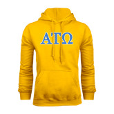 Gold Fleece Hoodie-ATO 2 Color Greek Letters