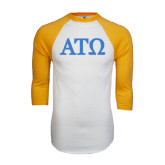White/Gold Raglan Baseball T-Shirt-ATO Greek Letters