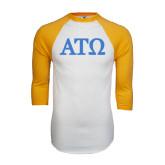 White/Gold Raglan Baseball T-Shirt-ATO Greek Letters
