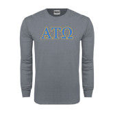 Charcoal Long Sleeve T Shirt-ATO 2 Color Greek Letters