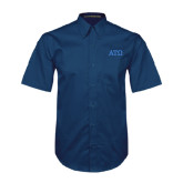 Navy Twill Button Down Short Sleeve-ATO Greek Letters