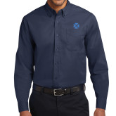 Navy Twill Button Down Long Sleeve-Cross