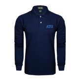 Navy Long Sleeve Polo-ATO Greek Letters