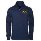 Navy Rib 1/4 Zip Pullover-ATO Greek Letters