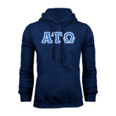 Navy Fleece Hoodie-Greek Letters Tackle Twill