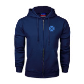 Navy Fleece Full Zip Hoodie-Cross