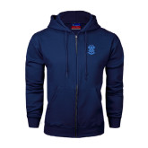 Navy Fleece Full Zip Hoodie-ATO Interlocking