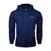 Navy Fleece Full Zip Hoodie-ATO Greek Letters