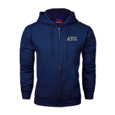 Navy Fleece Full Zip Hoodie-ATO 2 Color Greek Letters