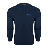 Classic Mens V Neck Navy Sweater-ATO Greek Letters