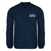 V Neck Navy Raglan Windshirt-ATO Greek Letters