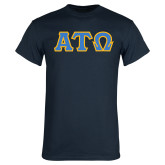 Navy T Shirt-Greek Letters Tackle Twill