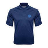 Navy Textured Saddle Shoulder Polo-Cross