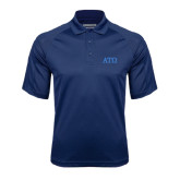 Navy Textured Saddle Shoulder Polo-ATO Greek Letters
