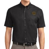 Black Twill Button Down Short Sleeve-Badge