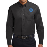 Black Twill Button Down Long Sleeve-Cross