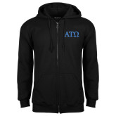 Black Fleece Full Zip Hoodie-ATO Greek Letters
