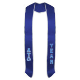 2018 Royal Graduation Stole w/White Trim-Small Greek Letters Tackle Twill Stacked