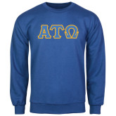 Royal Fleece Crew-Greek Letters Tackle Twill