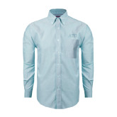 Mens Light Blue Oxford Long Sleeve Shirt-ATO Greek Letters