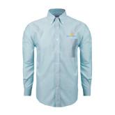 Mens Light Blue Oxford Long Sleeve Shirt-Official Logo