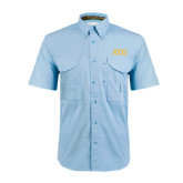 Light Blue Short Sleeve Performance Fishing Shirt-ATO Greek Letters
