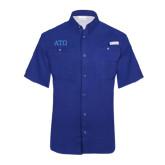 Columbia Tamiami Performance Royal Short Sleeve Shirt-ATO Greek Letters