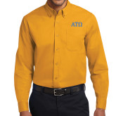 Gold Twill Button Down Long Sleeve-ATO Greek Letters