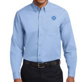 Light Blue Twill Button Down Long Sleeve-Cross