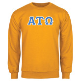 Gold Fleece Crew-Greek Letters Tackle Twill