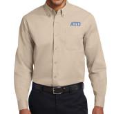Khaki Twill Button Down Long Sleeve-ATO Greek Letters