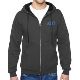 Charcoal Fleece Full Zip Hoodie-ATO Greek Letters