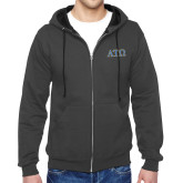 Charcoal Fleece Full Zip Hoodie-ATO 2 Color Greek Letters