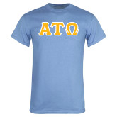 Light Blue T Shirt-Greek Letters Tackle Twill