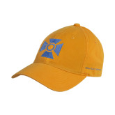 Gold Twill Unstructured Low Profile Hat-Cross