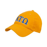 Gold Twill Unstructured Low Profile Hat-ATO 2 Color Greek Letters