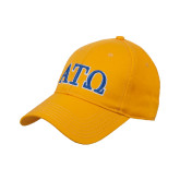 Gold Heavyweight Twill Pro Style Hat-ATO 2 Color Greek Letters