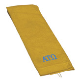 Gold Golf Towel-ATO Greek Letters