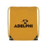 Gold Drawstring Backpack-Adelphi with Panther Head
