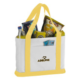 Contender White/Gold Canvas Tote-Adelphi with Panther Head