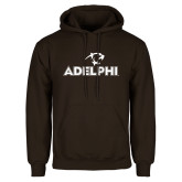 Brown Fleece Hoodie-Adelphi with Panther Head