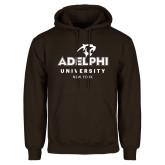 Brown Fleece Hoodie-Panther Head Adelphi University New York