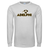 White Long Sleeve T Shirt-Adelphi with Panther Head
