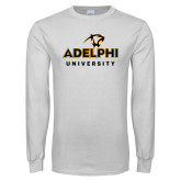 White Long Sleeve T Shirt-Panther Head Adelphi University