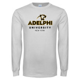 White Long Sleeve T Shirt-Panther Head Adelphi University New York