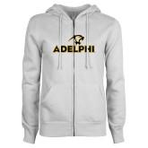 ENZA Ladies White Fleece Full Zip Hoodie-Adelphi with Panther Head