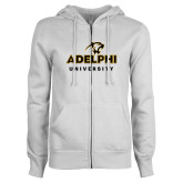 ENZA Ladies White Fleece Full Zip Hoodie-Panther Head Adelphi University