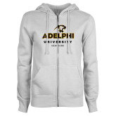 ENZA Ladies White Fleece Full Zip Hoodie-Panther Head Adelphi University New York