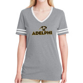 Ladies Grey Heather/White Tri Blend Varsity Tee-Adelphi with Panther Head